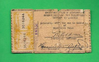 PHILIPPINES 1942 (ND) 50 CENTAVO CAGAYAN CURRENCY W/ REVENUE STAMP S-163a