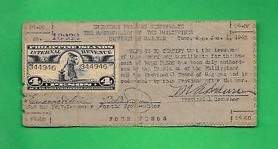 PHILIPPINES 1942 (ND) FOUR PESO CAGAYAN CURRENCY W/ REVENUE STAMP S-167a