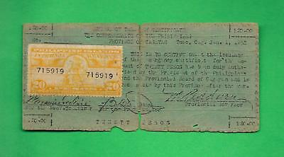 PHILIPPINES 1942 (ND) TWENTY PESO CAGAYAN CURRENCY W/ REVENUE STAMP S-170a