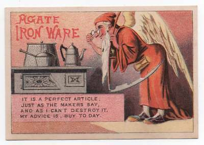 Agate Iron Ware  San Francisco trade card   Father Time eyes Indestructable pots