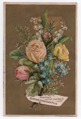 Advertising trade card for Carter's Little Liver Pills  Pink & Yellow Roses