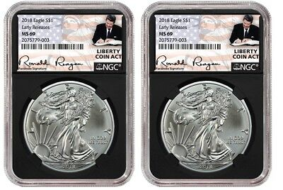 2018 1oz Silver Eagle NGC MS69 ER Liberty Coin Act Black Core 2 Pack