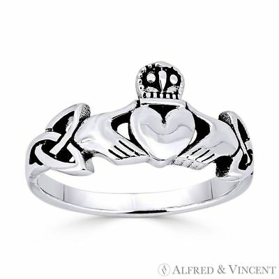 Claddagh Heart Irish Celtic Knot Triquetra Charm Ring in .925 Sterling Silver