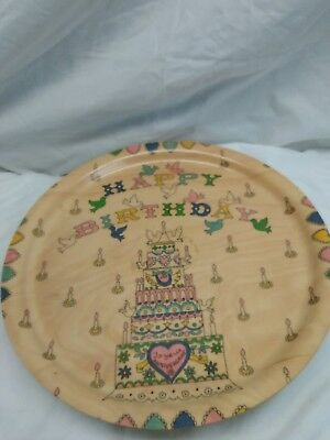1960s Vintage Swiss Musical Rotating Cake Plate Stand Plays Happy Birthday