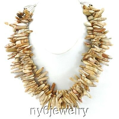 """3 Strands Huge Picture Jasper Chip beads Silver Tone Necklace 20"""" FREE SHIPPING"""