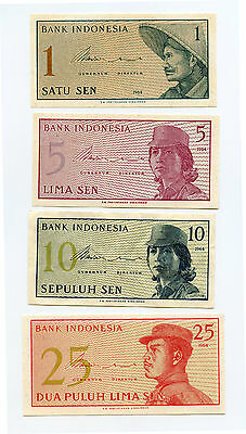 Indonesia 1964 Currency Lot - 1 5 10 25 Sen - AA463
