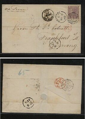 Great  Britain  #27  on  cover to Germany   1860 folded envelope          KL1001