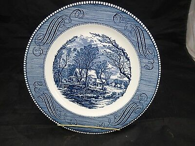 "Currier & Ives Royal China USA The Old Grist Mill Dinner Plate 10"" Blue & White"