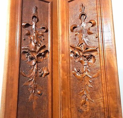 Hand Carved Wood Panel Pair Antique Bow Flower Architectural Salvage Carving 1