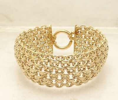 Bold Wide Domed High Polished Mosaic Oval Link Bracelet Real 14K Yellow Gold QVC