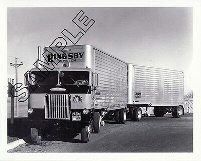 RINGSBY TRUCK LINES 1956 WHITE-FREIGHTLINER COE DOUBLES 8x10 B&W Glossy Photo