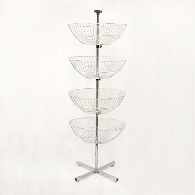 63'' Floor Display Dump Bin 4 Chrome Wire Basket Tier Spinner Rack Free Standing