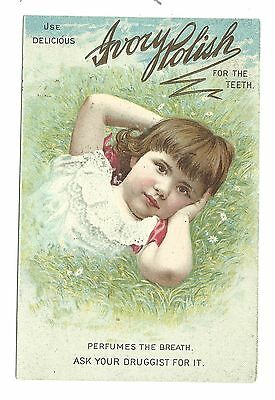 Old Trade Card Ivory Polish For Teeth Fleming Pittsburgh PA Drug Store Lyons NY