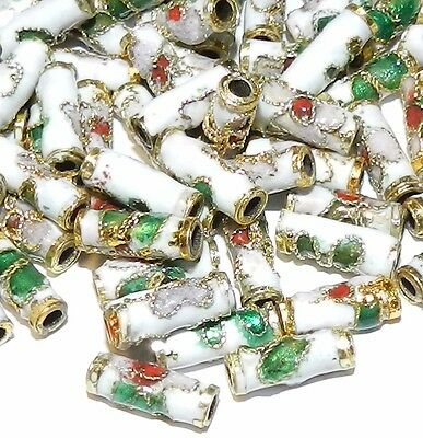 CLL133L White 9mm Round Tube Enamel Overlay on Metal Cloisonne Beads 50pc