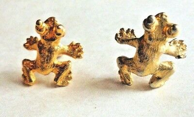 2 Adorable Cute Vintage Frog Hat or Lapel Gold Tone Pins Pinbacks