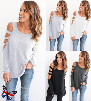 Womens Cold Shoulder Long Sleeve Jumper Sweater Casual Loose Pullover Blouse Top