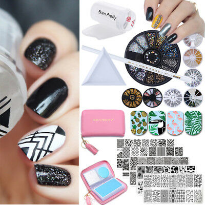 18Pcs Set Born Pretty Nail Art Stamping Plate + Rhinestones Beads Studs 3D Decor