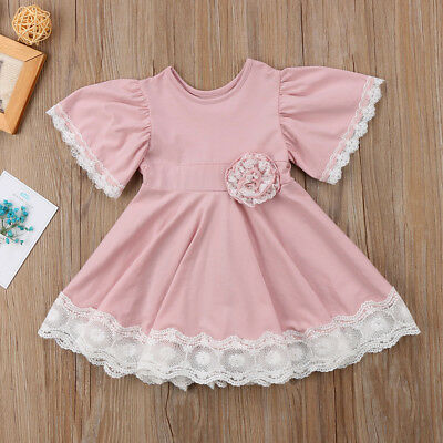 AU Princess Kids Baby Girls Dress Lace Floral Party Dress Easter Casual Dresses