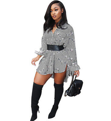 Sexy Women Fashion Long Sleeve Dragonfly Print Loose Clubwear Casual Shirt Dress