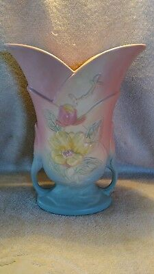 """11 inch Tall 1940's Hull Pottery Vase Magnolia Floral Decoration 9-10 1/2"""""""