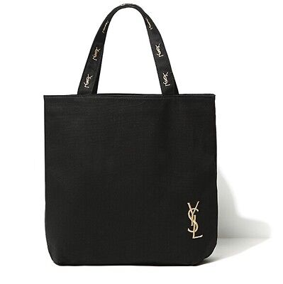 YSL Cosmetic Counter Gift Shopping Tote Bag Canvas Logo Black Washable NEW