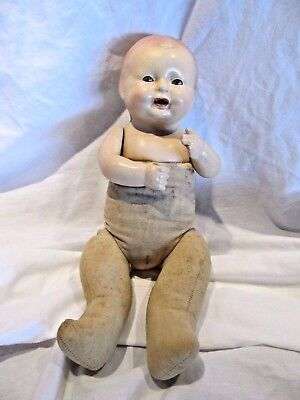"""Antique 1920's Horsman 13"""" Baby Dimples Composition And Cloth Doll"""