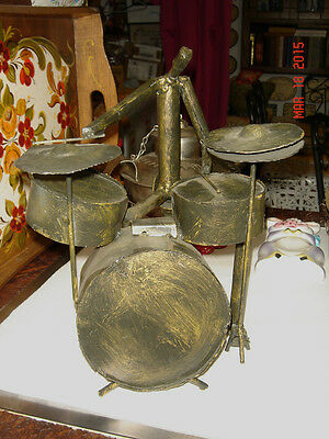 Vtg Mid Century Art Brutalist Forged Wrought Metal Distressed Drummer Sculpture