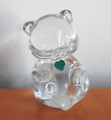 "Fenton May Birthstone Bear Clear Glass Emerald Green Heart 3 3/4"" Logo Mark"