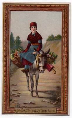 Domestic Sewing Machine Victorian trade card  Lady on mule with food baskets SF?