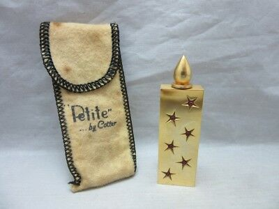 Vintage Petite by Cotter gold plated mini perfume bottle flask, rhinestones