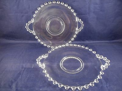 """Two Vintage Imperial Glass - Ohio Candlewick - Clear 7"""" 2-Handled Plates"""