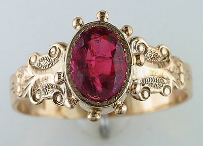 Vintage Antique 1.50ct Ruby 14K Yellow Gold Victorian Cocktail Ring