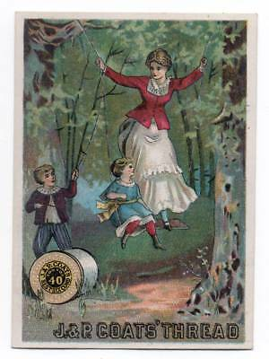 Trade card  Woman & Little girl share swing held by spool of J & P Coats Thread