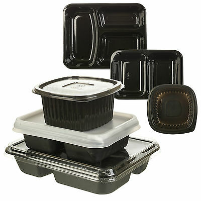 5-100 Microwave Hot Cold Food Takeaway Containers 1 2 3 Compartments With Lids
