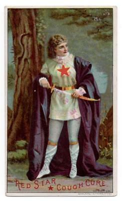 Patent Medicine trade card  Red Star Cough Cure   Woman with sword