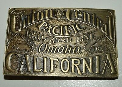 Vintage Union & Central Pacific Omaha to California Railroad Line Belt Buckle NM