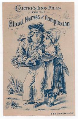 Patent Medicine trade card   Carter's Iron Pills   Boy & girl picking flowers