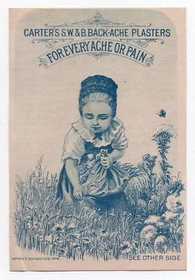Advertising trade card for Carter's Backache Plasters  Girl in garden
