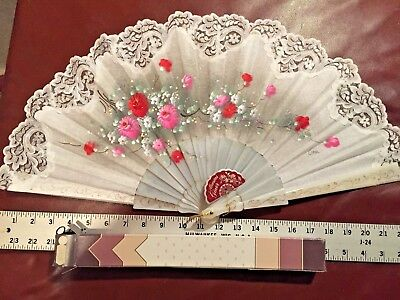 Vintage Spanish Hand held Painted Designer Fan Victorian Flowers Giner Spain