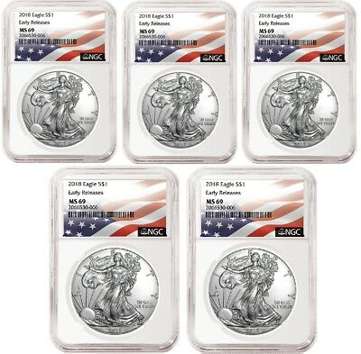 2018 1oz Silver Eagle NGC MS69 Early Releases Flag Label 5 Pack