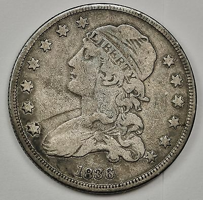 1836 Bust Quarter. Error. Die Cracks Obverse & Reverse.  Not Scratches.  108880