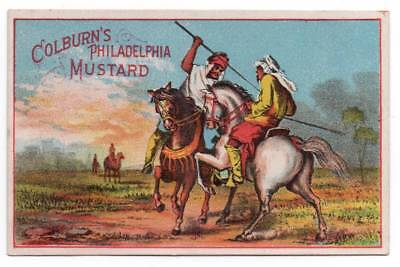 Trade card  Colburn's Philadelphia Mustard   Arab men duel with spears on horses