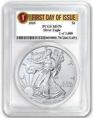 2018 1oz Silver Eagle PCGS MS70 - First Day Issue Label 1 of 1000 In Stock