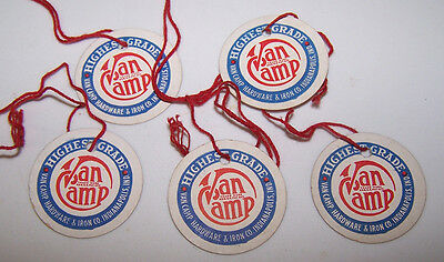 5 Vintage VAN CAMP HARDWARE & IRON COMPANY String Tags INDIANAPOLIS INDIANA
