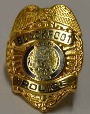 Vintage Blackfoot POLICE Badge Shaped Golden Lapel Pin State of IDAHO Rare