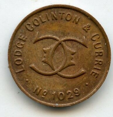 Lodge Colinton & Currie Number 1029 Masonic  Penny  Token