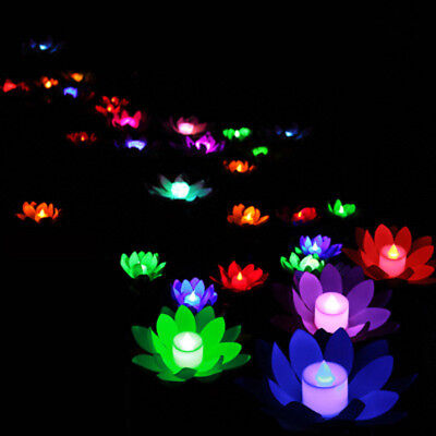 Outdoor Floating Lotus Light Pool Pond Garden Water Colors Flower LED Lamp Decor