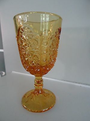 "LG Wright Glass 4.75"" AMBER Daisy Button Thumbprint GOBLET"