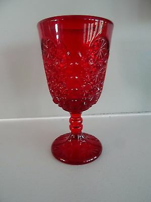 "LG Wright Glass 4.75"" Daisy Button Thumbprint GOBLET RUBY RED Ball Stem"