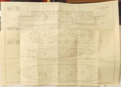 Vintage Blueprints--Atlantic Coast Steamship Co. Ss Destiny Ship Blueprints